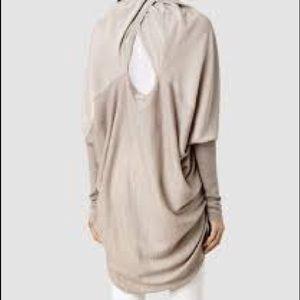 All Saints Sweaters - All Saints Itat Silk Shrug in Marl Gray